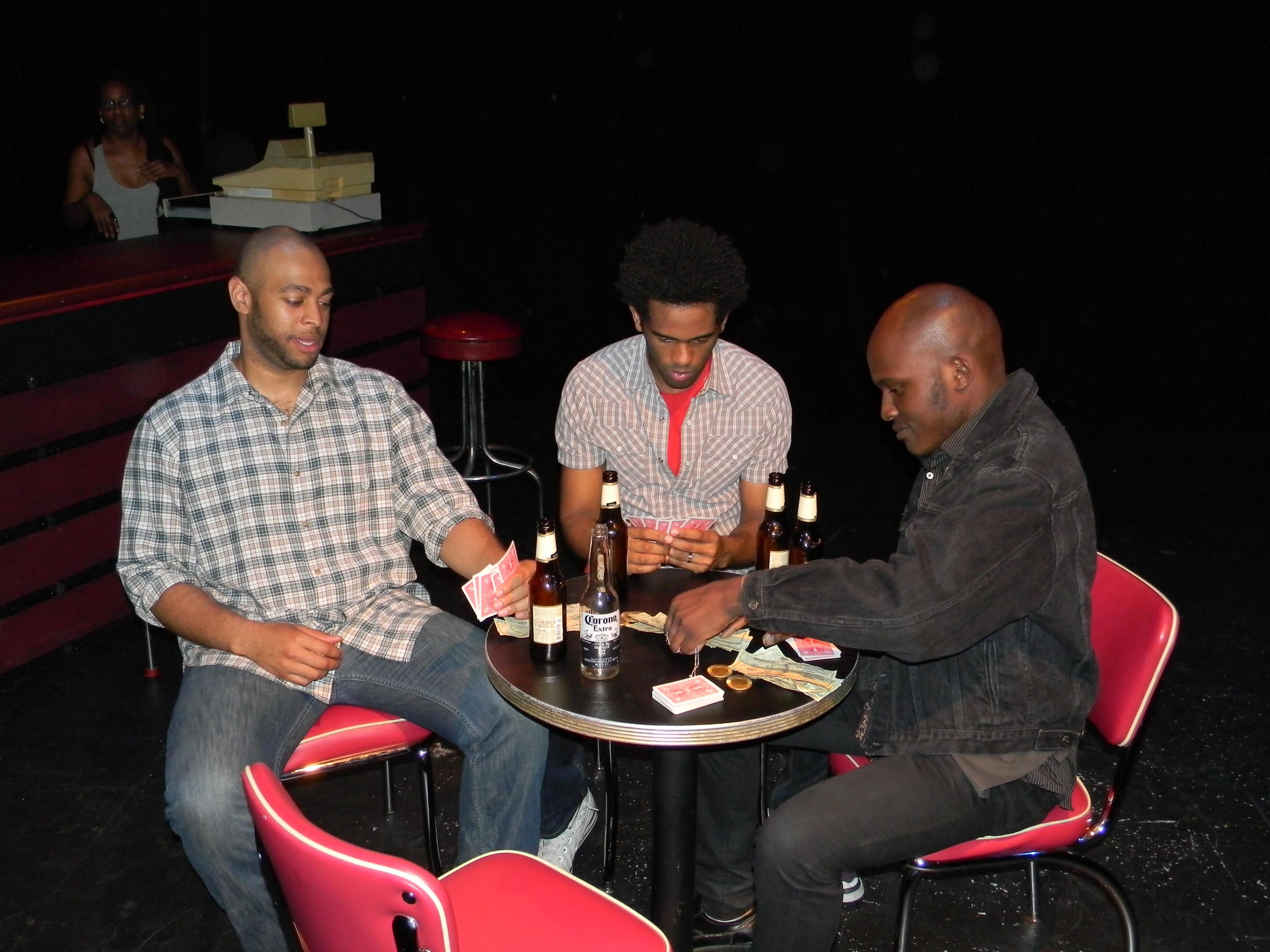 (Left to Right): Branden Baskin as EARL; Corey Wright as DAKOTA; Lex Daemon as THE DEALER