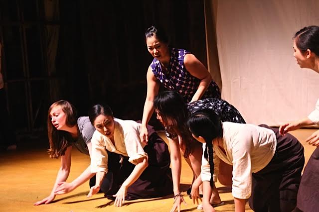 (Left to Right) Maggie Lalley as ELLEN JANSEN; Bomi Yim as YOUNGSUN CHOI, ; Sandra W. Lee as GOEUN KIM; Jann Punwattana as JINJU PARK; Yeena Sung as NAMSOON LEE; Tomoka Iwata as MALSOON LEE